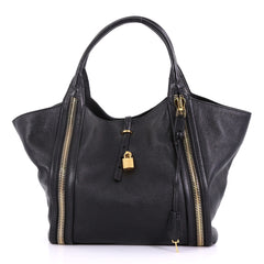Tom Ford Amber Double Zip Tote Leather Large Black