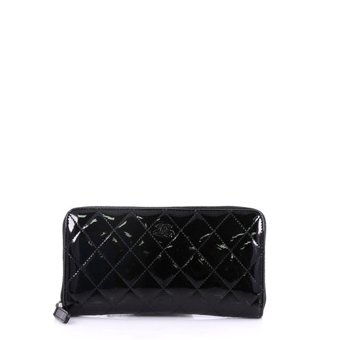 766e3f71b3b0 Chanel Zip Around Wallet Quilted Patent Long Black 404851 – Rebag
