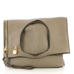 Tom Ford Alix Fold Over Bag Leather Large Brown  40496/2