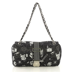Chanel Airlines Chain Buckle Flap Bag Printed Satin Medium 405272