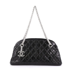 Chanel Just Mademoiselle Handbag Quilted Lizard Small Black