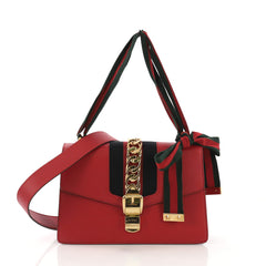 Gucci Sylvie Shoulder Bag Leather Small Red