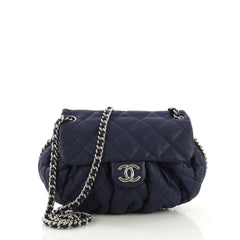 Chanel Chain Around Flap Bag Quilted Leather Medium Blue