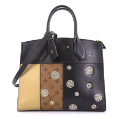 Louis Vuitton City Steamer Handbag Limited Edition Studded Reverse Monogram Canvas and Leather MM