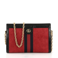 Gucci Ophidia Chain Shoulder Bag Suede Small Red
