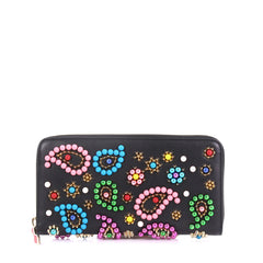 Christian Louboutin Panettone Wallet Beaded Leather Black