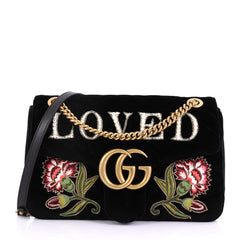 Gucci GG Marmont Flap Bag Embroidered Matelasse Velvet Medium