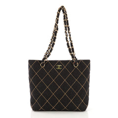 Chanel Surpique Chain Tote Quilted Wool Small Gray 405321