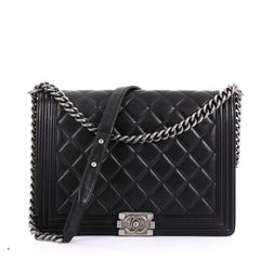 Chanel Boy Flap Bag Quilted Lambskin Large Black