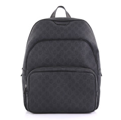 24b6166e6c76 Gucci Zip Pocket Backpack GG Coated Canvas Medium Black 405401