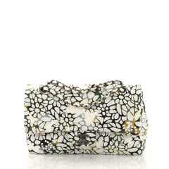 Chanel Classic Double Flap Bag Quilted Floral Tweed Medium White