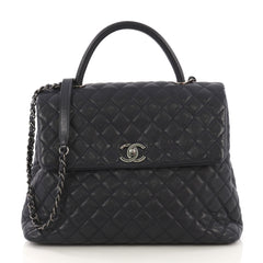 9837afd9515d Chanel Coco Top Handle Bag Quilted Caviar Large Blue 405635