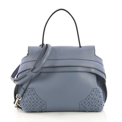 Tod's Studded Convertible Wave Bag Leather Mini Blue 40568101