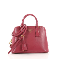 Prada Promenade Handbag Vernice Saffiano Leather Small Pink