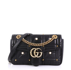 Gucci Pearly GG Marmont Flap Bag Embellished Matelasse Leather 40568/114