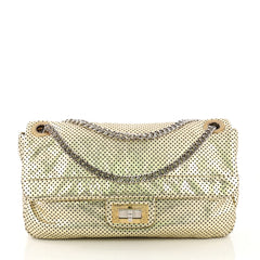 Chanel Drill Flap Bag Perforated Leather Medium Gold