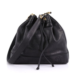 Chanel Model: Vintage CC Drawstring Bucket Bag Caviar Medium Black 40568/122