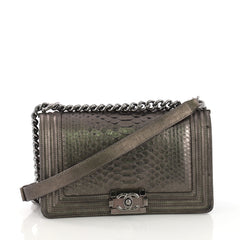 Chanel Boy Flap Bag Python Old Medium Gray
