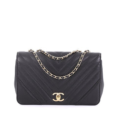 d138a18c018f Chanel Statement Flap Bag Chevron Calfskin Small Black