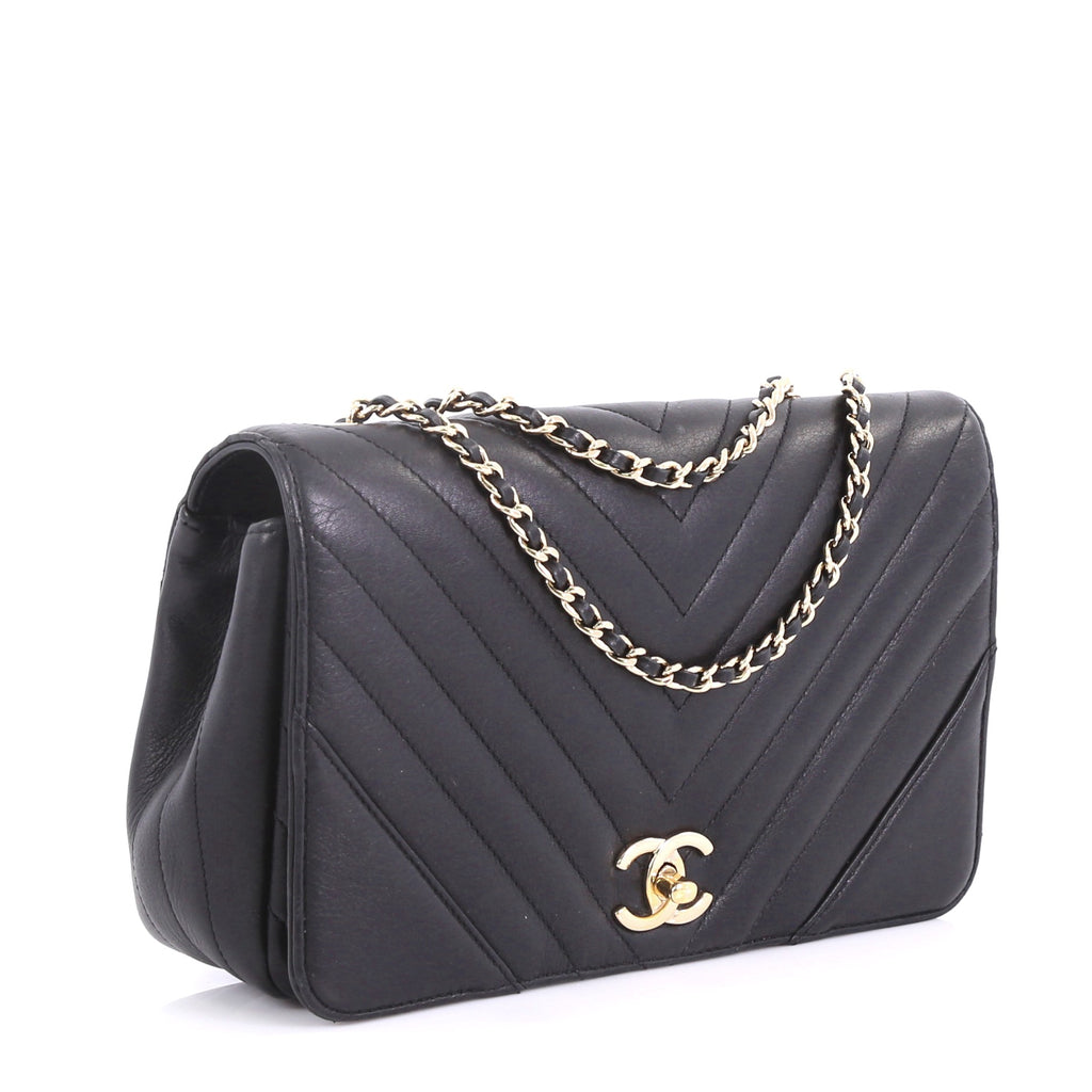 6d469c501614 Chanel Statement Flap Bag Chevron Calfskin Small Black 4056826 – Rebag