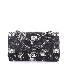 Chanel Airlines Classic Double Flap Bag Quilted Printed Satin