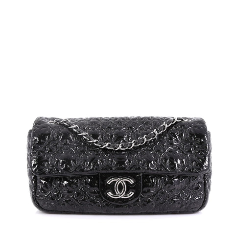 86cb6837323f Chanel Rock In Moscow Flap Bag Patent Vinyl Medium Black 4056835 – Rebag