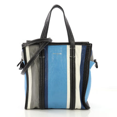 Balenciaga Bazar Convertible Tote Striped Leather Small Blue  40568/81