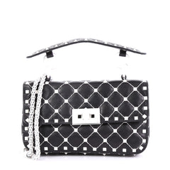 Valentino Model: Free Rockstud Spike Flap Bag Quilted Leather Small Black 40568/91