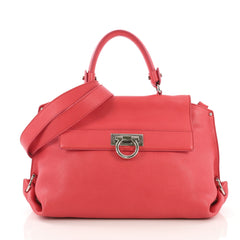 Salvatore Ferragamo Sofia Satchel Pebbled Leather Medium Pink