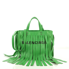 Balenciaga Laundry Cabas Tote Fringe Leather XS Green 4056893