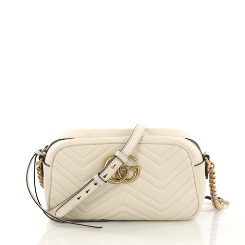 64afdb49997 Gucci GG Marmont Shoulder Bag Matelasse Leather Small White 4056894 – Rebag