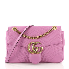 Gucci GG Marmont Flap Bag Matelasse Leather Medium Purple 40570/11