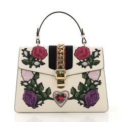 Gucci Sylvie Top Handle Bag Embroidered Leather Medium White 40570/13
