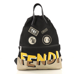 Fendi Monster Vocabulary Drawstring Backpack Printed Nylon 40572111