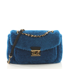 Fendi Be Baguette Shearling Medium Blue