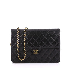 Chanel Model: Vintage Clutch with Chain Quilted Leather Medium Black 40572/116