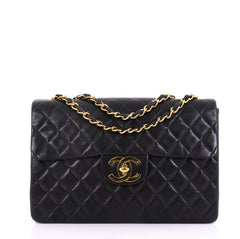 Chanel Model: Vintage Classic Single Flap Bag Quilted Lambskin Maxi Black 40572/131
