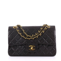 545a42d06dda56 Chanel Model: Vintage Classic Double Flap Bag Quilted Lambskin Small Black  40572/175