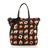Prada Convertible Tote Printed Tessuto With Saffiano Large Brown 40572/177