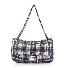 Chanel CC Chain Zip Flap Bag Vertical Quilted Printed Nylon 405722