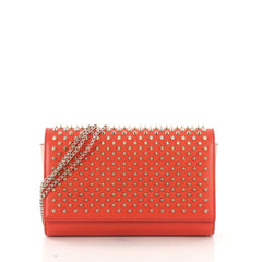 Christian Louboutin Paloma Clutch Spiked Leather Orange