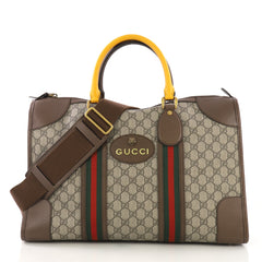 Gucci Web Convertible Duffle Bag GG Coated Canvas Medium Brown
