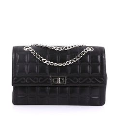 Chanel Model: Vintage Chocolate Bar Mademoiselle Chain Flap Bag Quilted Leather Medium Black 40572/72