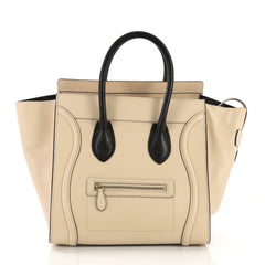 Celine Bicolor Luggage Handbag Leather Mini Neutral