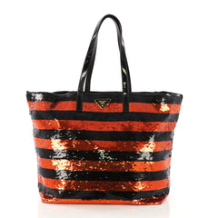 Prada Open Tote Sequins Large Black
