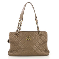Chanel CC Crown Tote Quilted Leather Medium Gold 4057281