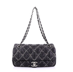 2e19808632a7 Chanel Model: Tweed On Stitch Flap Bag Quilted Nylon Medium Black 40575/1