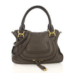 Chloe Marcie Satchel Leather Medium Brown 405851