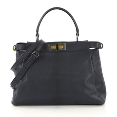 Fendi Peekaboo Handbag Leather Regular Blue 4058621