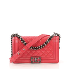 Chanel Model: Boy Flap Bag Quilted Patent Old Medium  Pink  40589/10